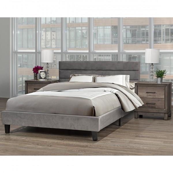 ORABELLE QUEEN BED IN A BOX GREY VELVET