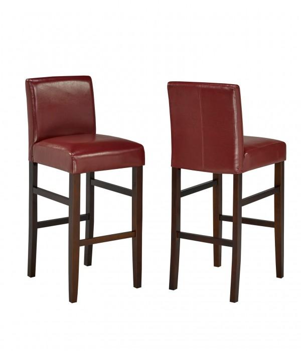 PU RED 29' BARSTOOL (BAR STOOL SET OF 2 )