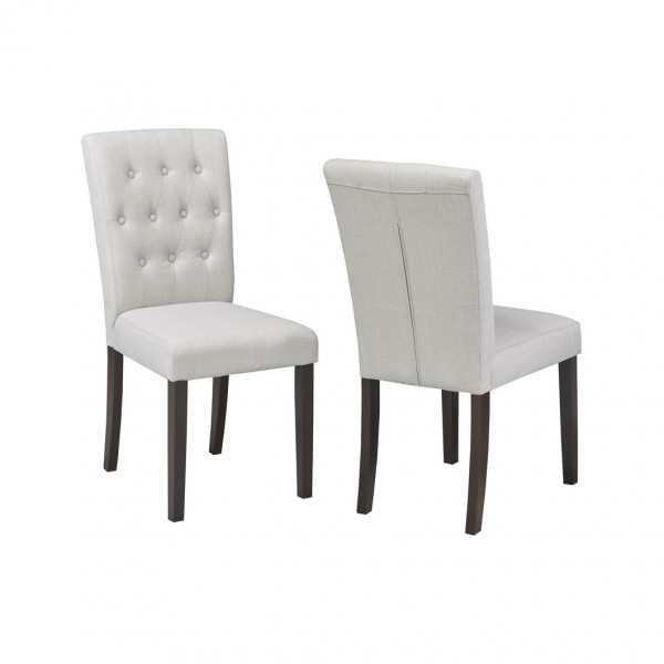 BEIGE FABRIC CHAIR (DINING CHAIR SET OF 2 )