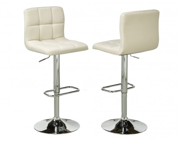 BEIGE FABRIC SQAURE BARSTOOL (BAR STOOL SET OF 2 )