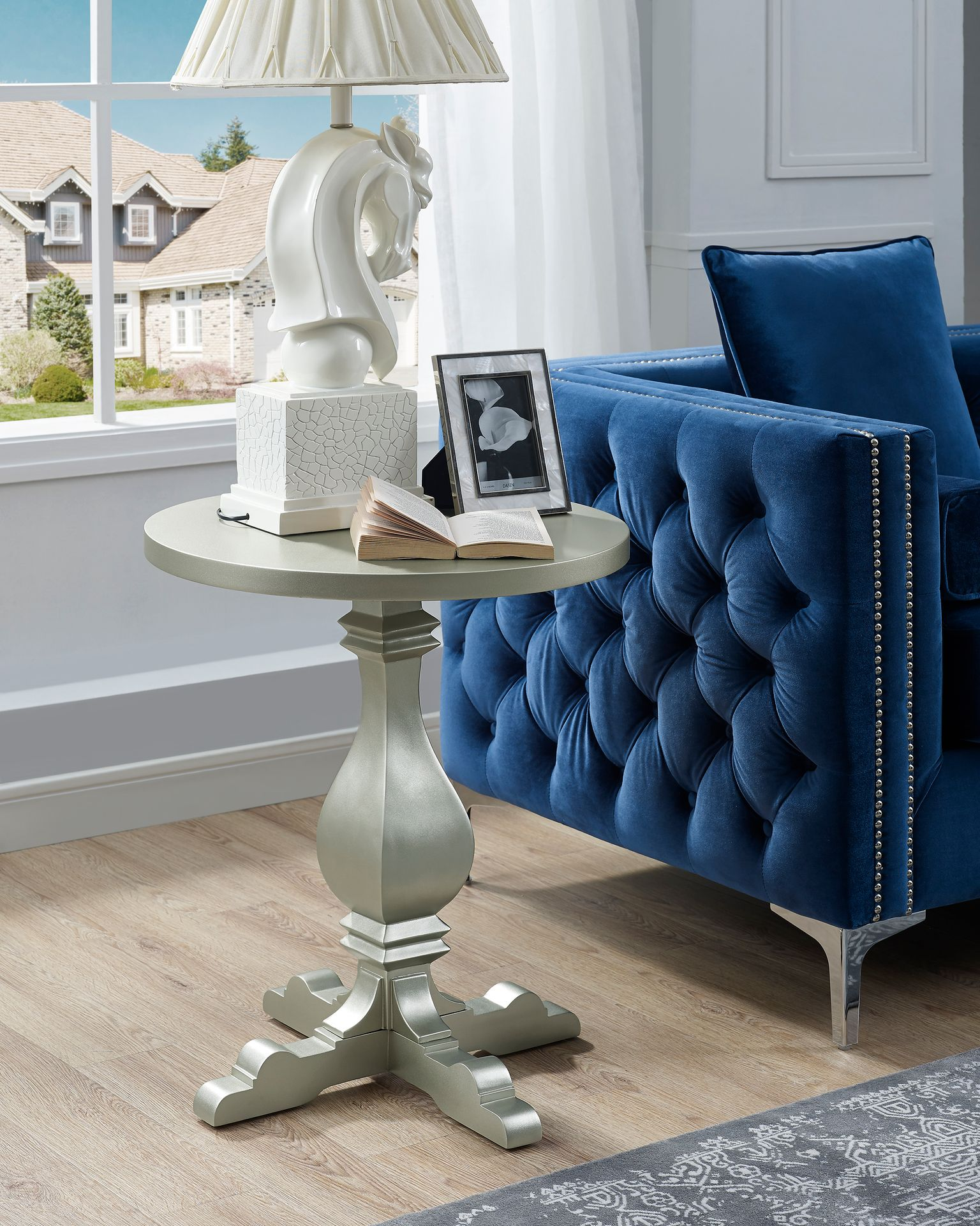 MADDISON ROUND END TABLE CHAMPAGNE COLOUR