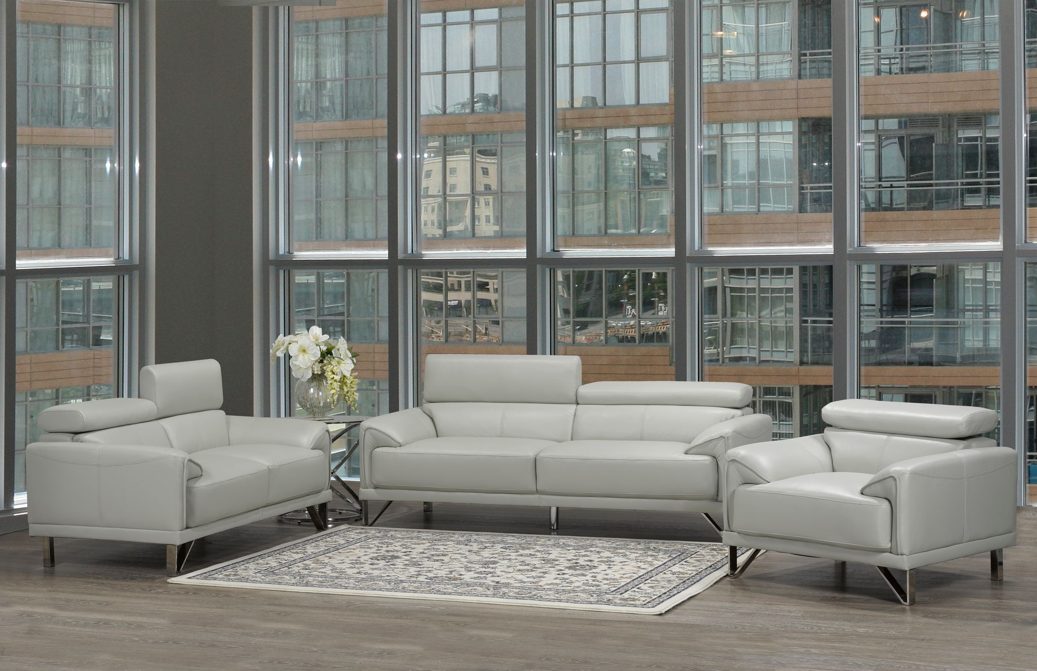 Layla 3- Piece Sofa Set, Light Grey