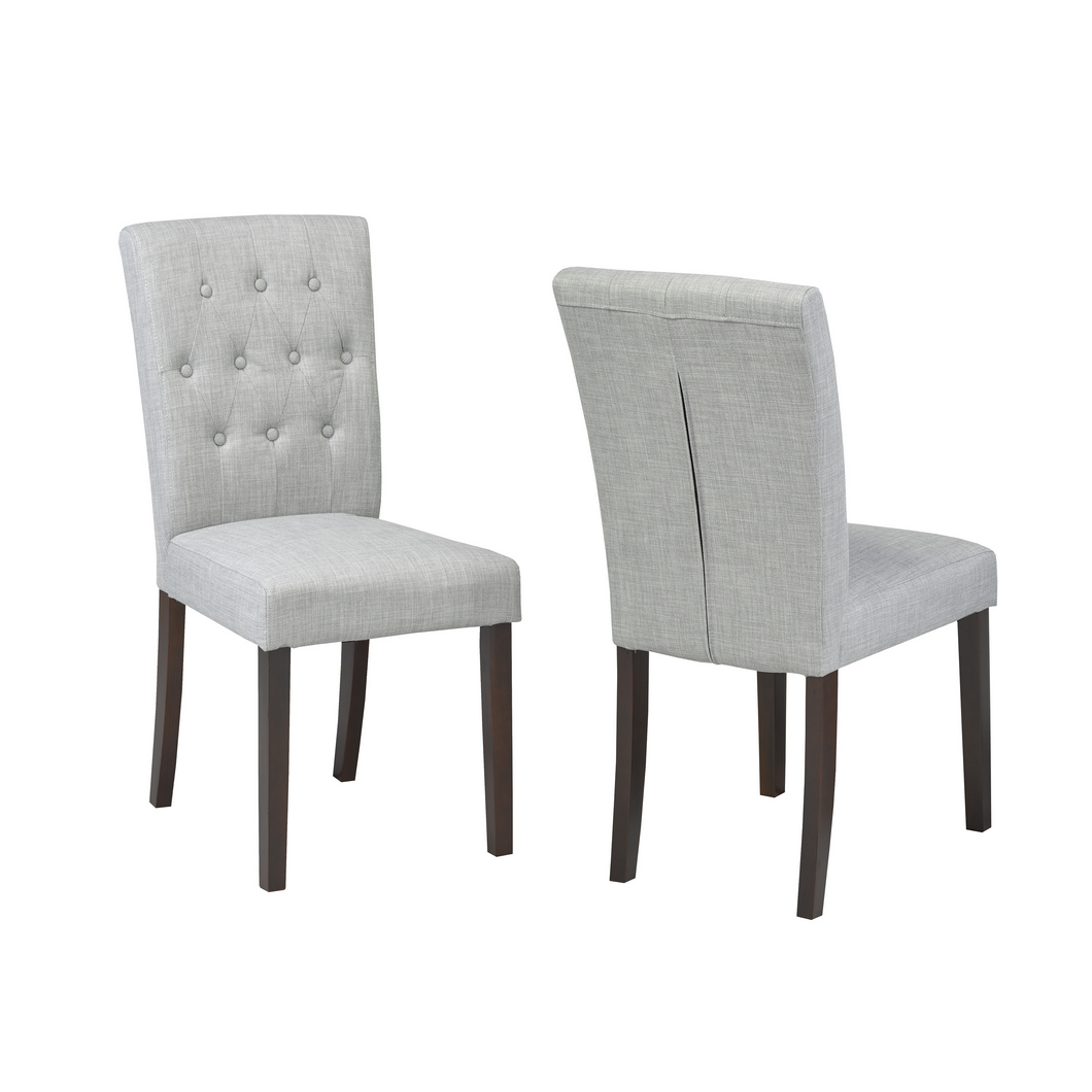 GREY FABRIC CHAIR (DINING CHAIR SET OF 2 )